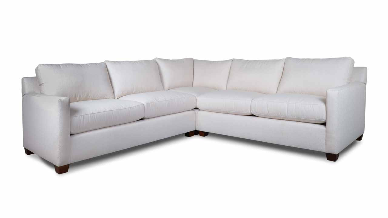 Brevard Square Corner Fabric Sectional 100 x 100 in White
