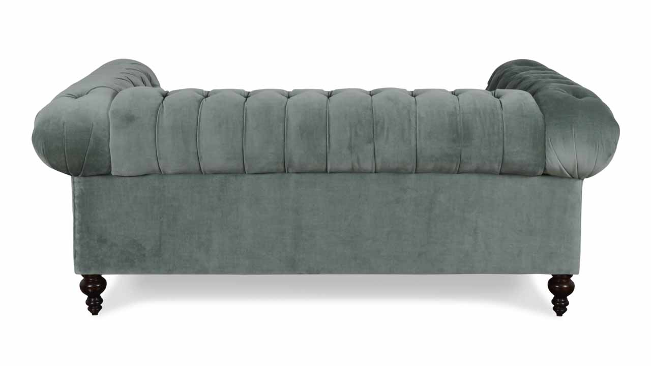 Classic Chesterfield Fabric Loveseat 75 x 38 Cannes Silver Sage