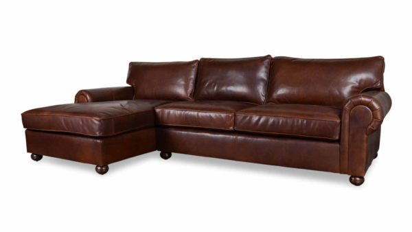 Lexington Single Chaise Leather Sectional 119 x 68 Pure Molasses
