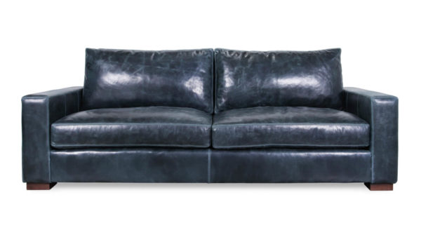 Monroe Leather Sofa 93 x 42 Cambridge Blue Smoke