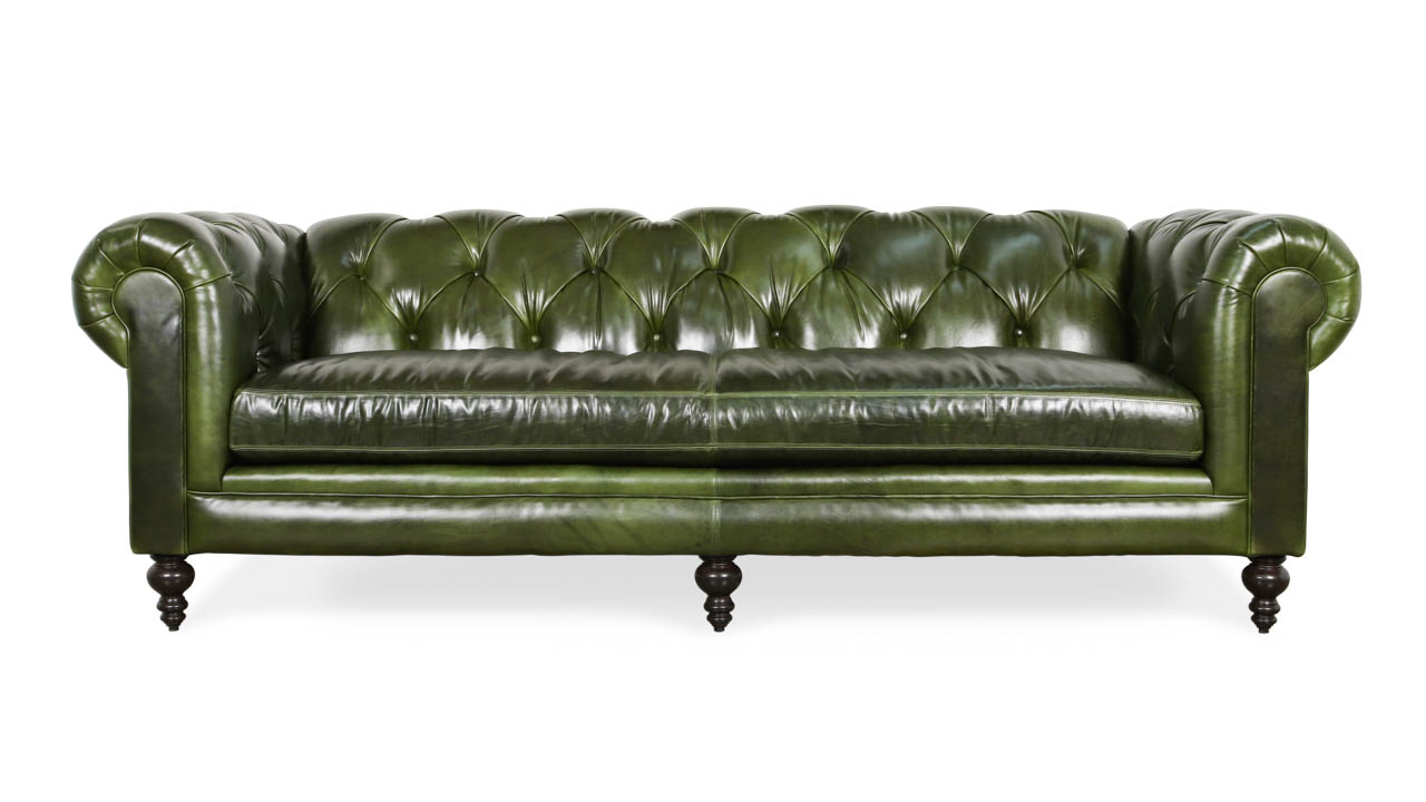 Soho Chesterfield Leather Sofa 96 x 42 Mont Blanc Winter Pine by COCOCO Home