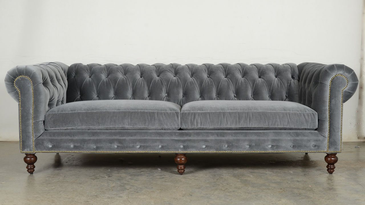 Quick Ship! Classic Chesterfield in Cannes Grey Cloud Velvet COCOCO Home