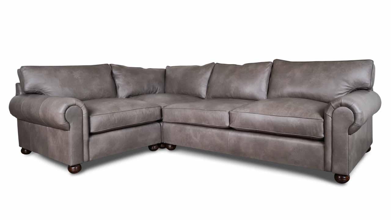 Lexington Square L Leather Sectional 90 x 123 Dante Smoke