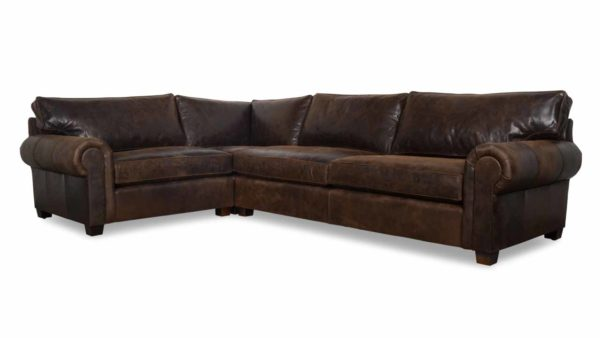 Lexington Square L Leather Sectional 91.5 x 130.5 x 42 Burnham Molasses