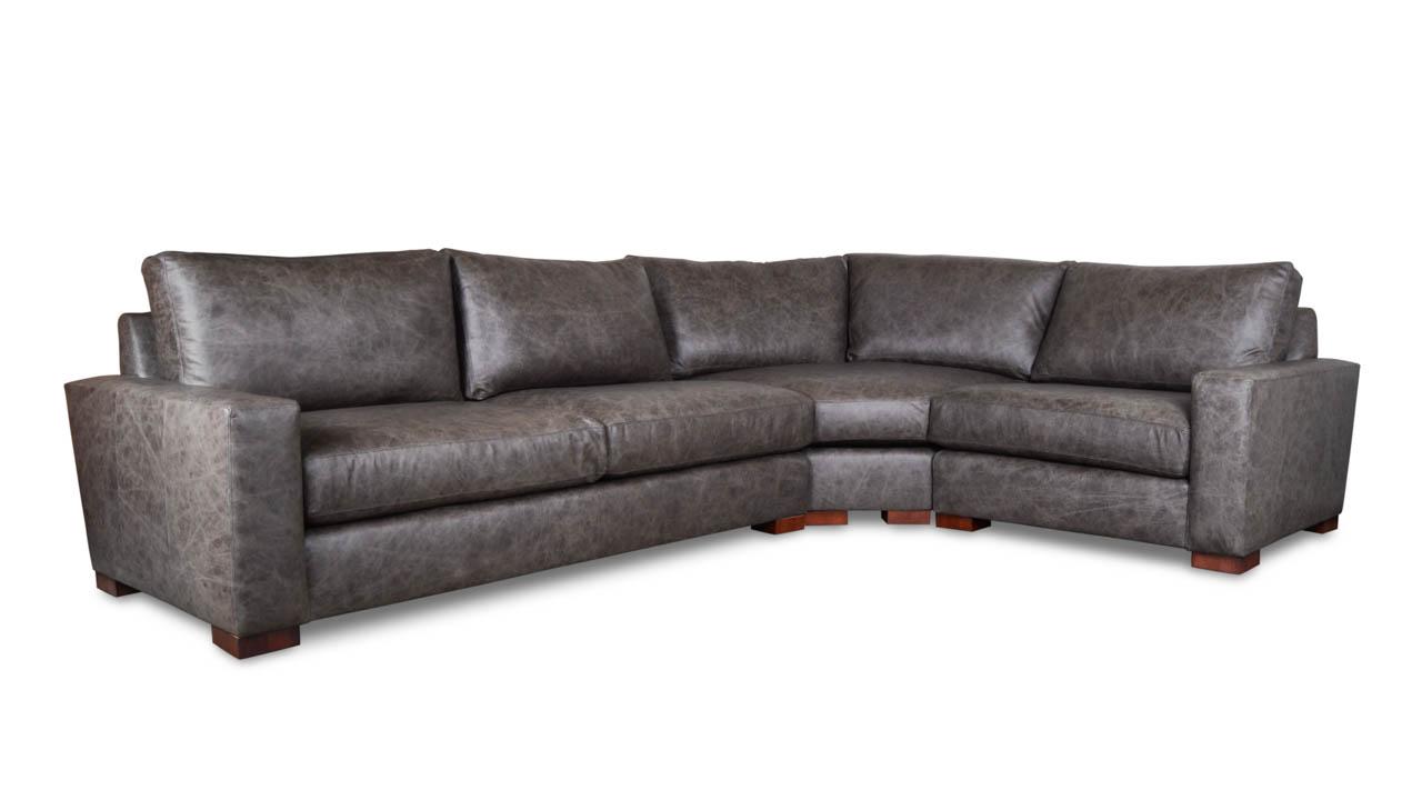 Monroe Radius L Leather Sectional 130 x 94 x 42 Crest Saloon Grey