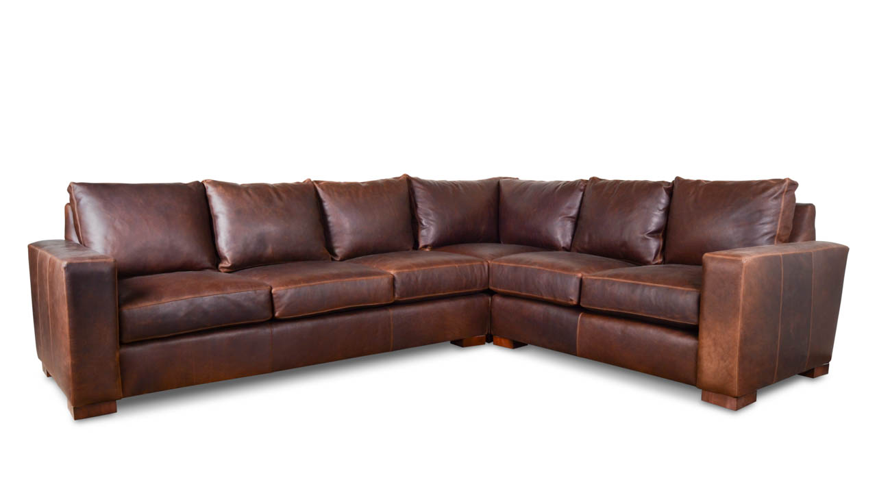 Monroe Square L Leather Sectional 117.5 x 93.5 x 38 Pure Molasses_
