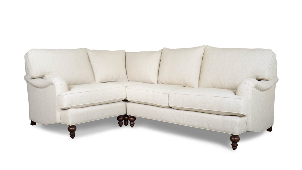 English Arm Pillow Back Square L Fabric Sectional Bella Dura Loomis Ivory
