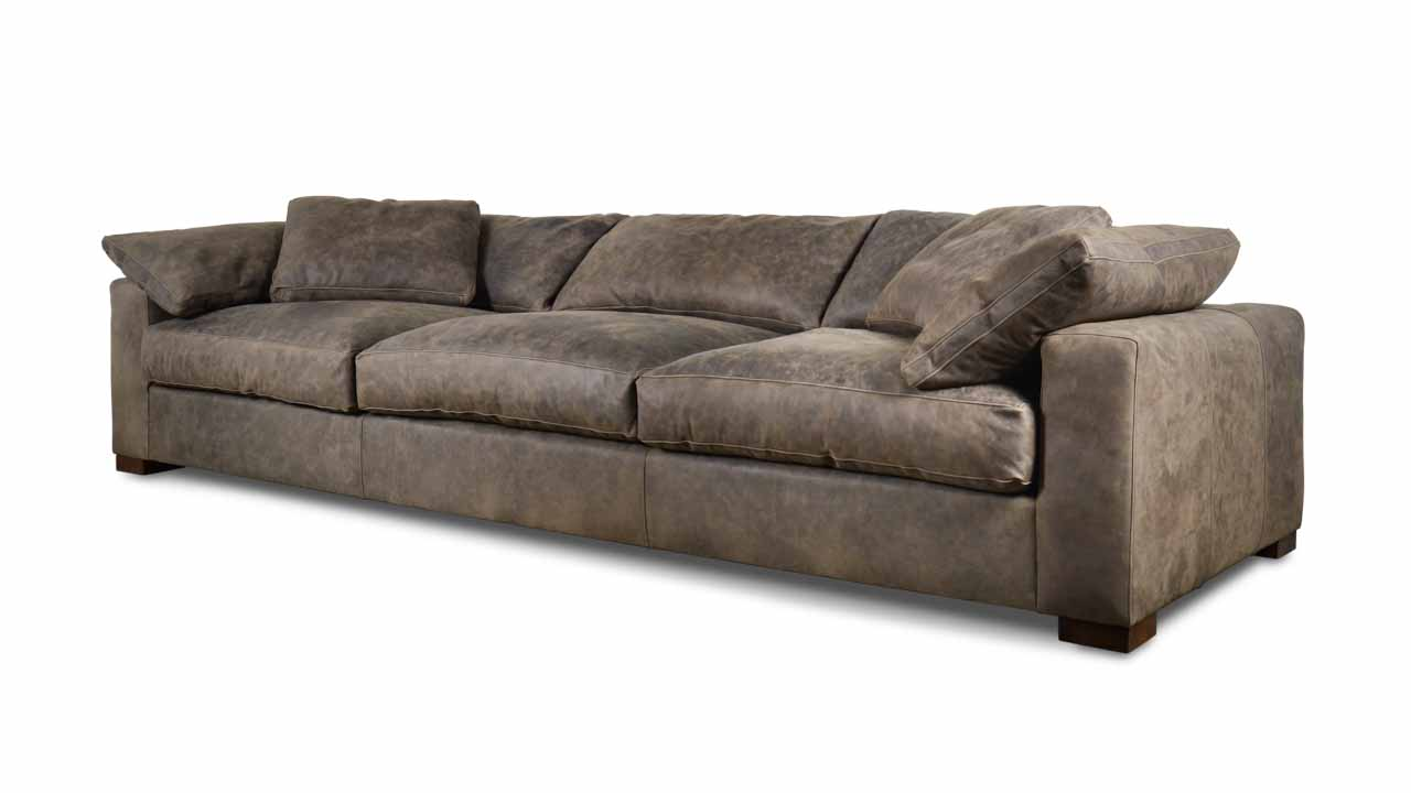 Nuvola Leather Sofa 131 x 45 Storm Slate Milled