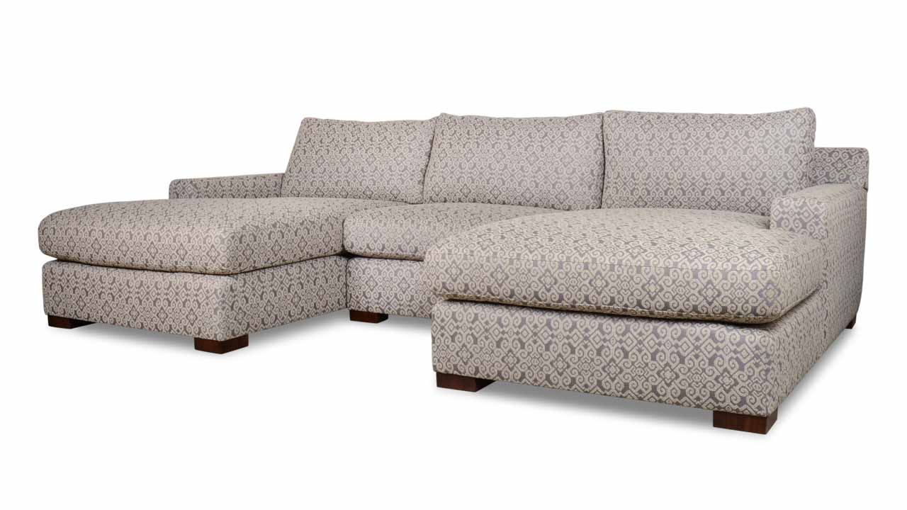 Durham Double Chaise Fabric Sectional 123 Bella Dura Vera Paz