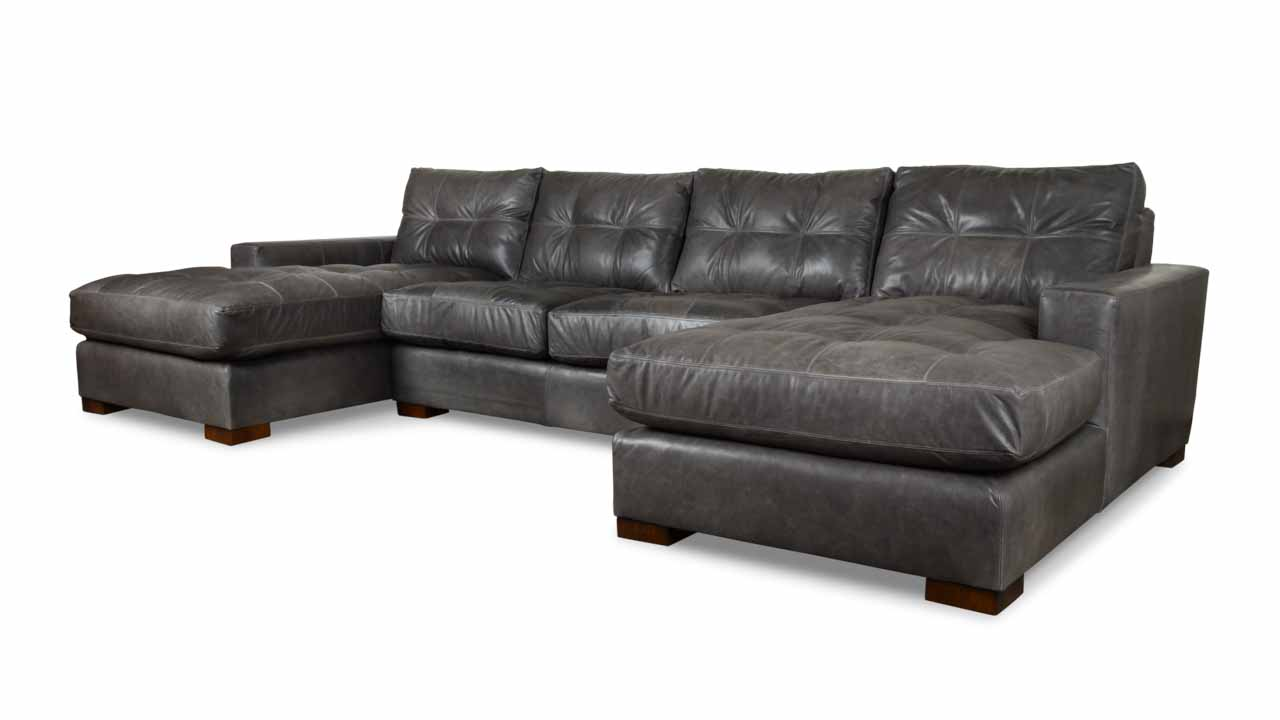 Modern Monroe Double Chaise Leather Sectional 135 x 38 x 42 Berkshire Pewter