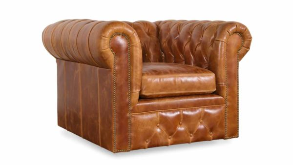 Traditional Chesterfield Leather Swivel Chair 43 x 42 Cambridge Sycamore