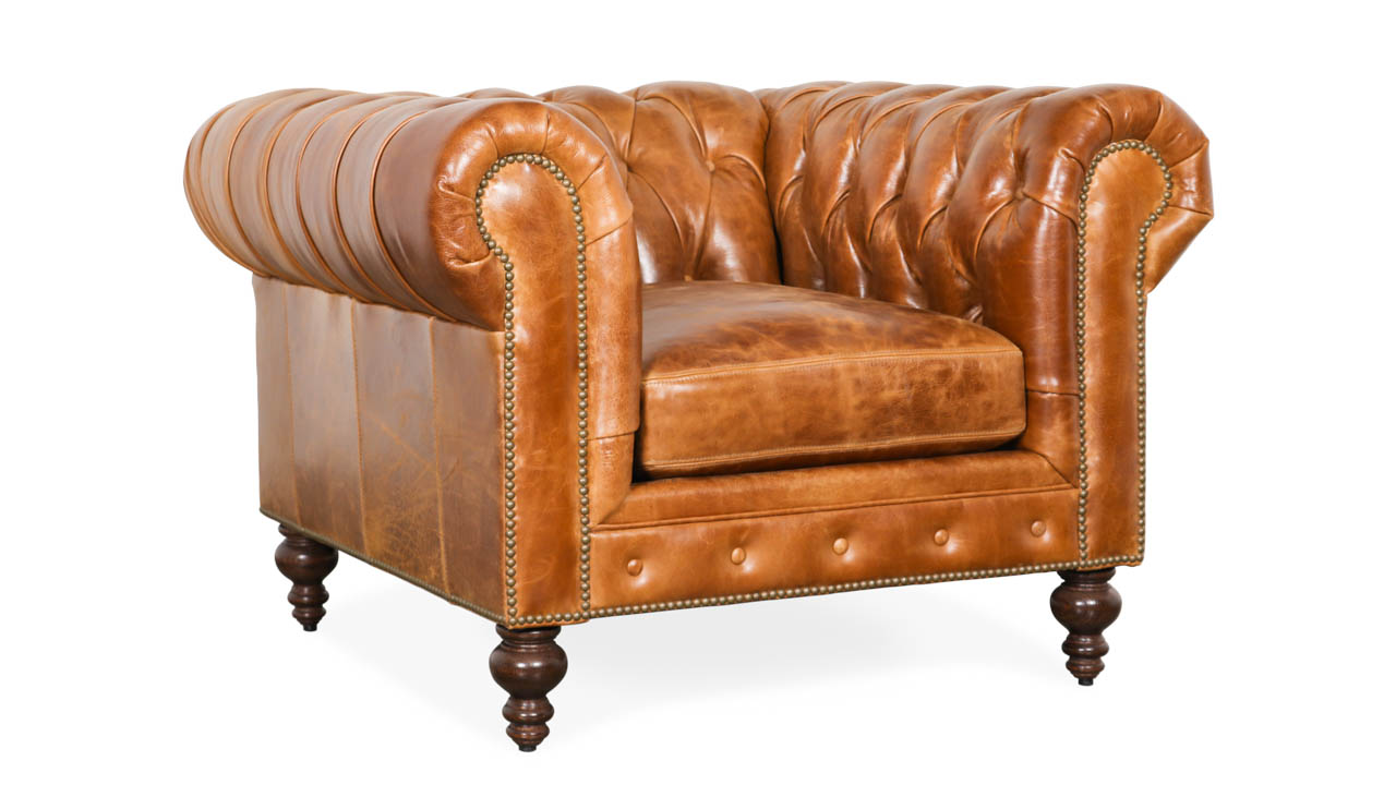Classic Chesterfield Leather Chair 43 x 42 Cambridge Sycamore by COCOCO Home