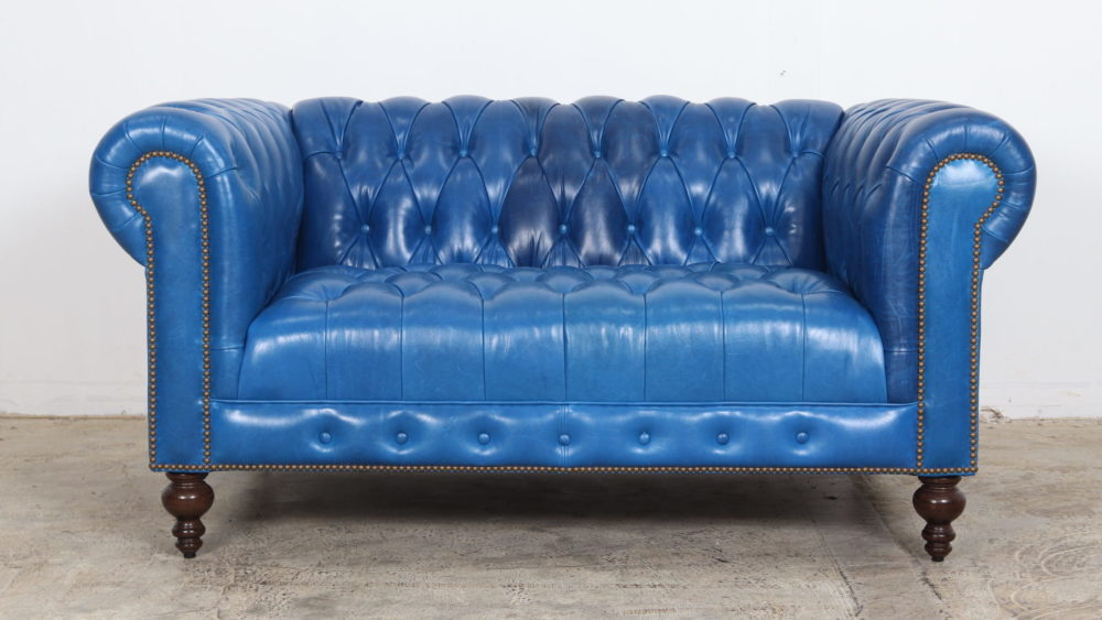 Chesterfield Loveaseat, Blue Leather, Mont Blanc Baltic, Moore and Giles