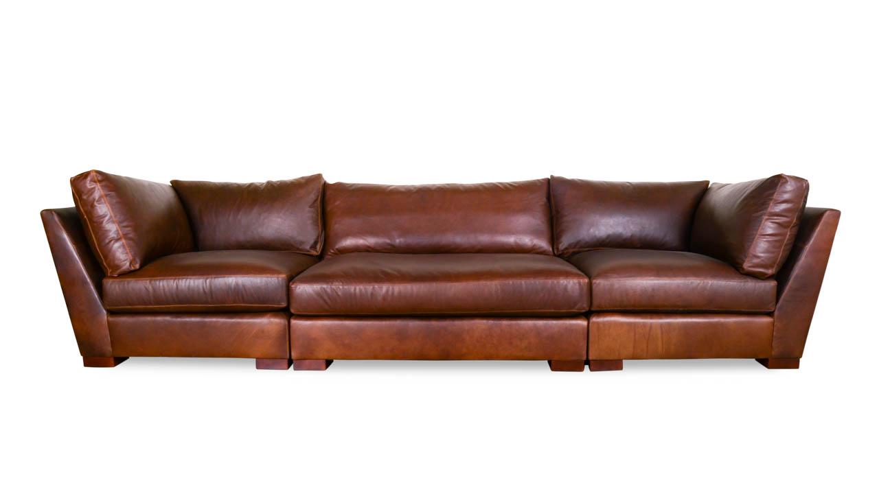 Monroe Leather Sofa with Armless Corners 146 x 46 Berkshire Bourbon