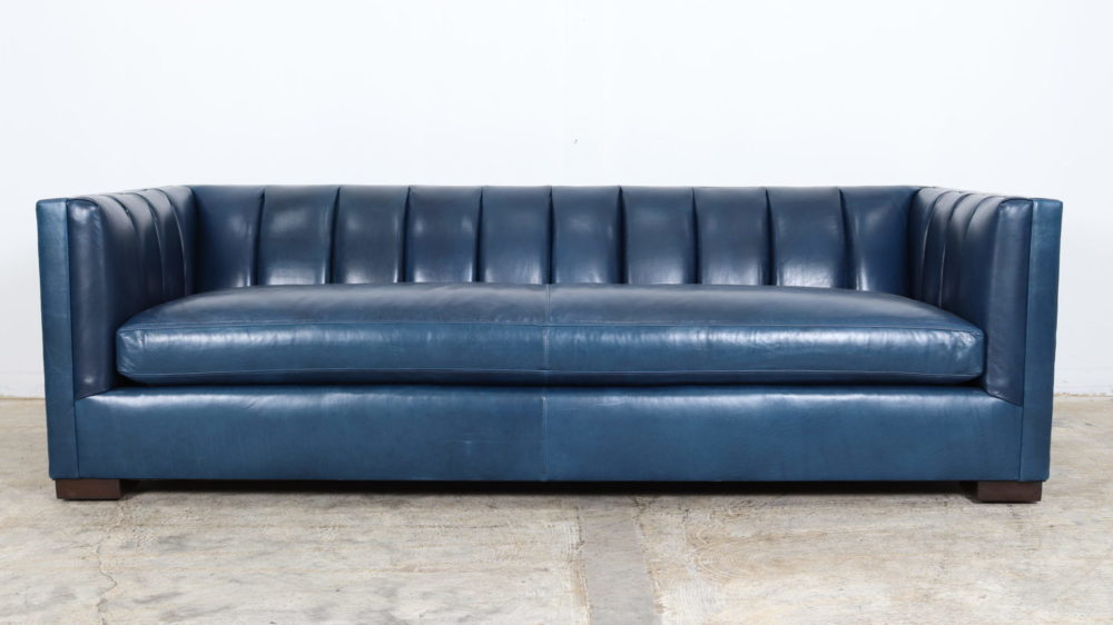 Contemporary Leather Sofa, Channel Tufts, Blue Leather